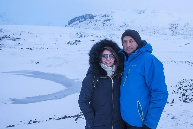 Ratika Haksar and Sharad Haksar in Iceland.